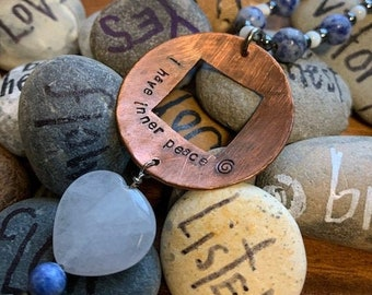 Sodalite Hematite Moonstone I have inner peace Necklace
