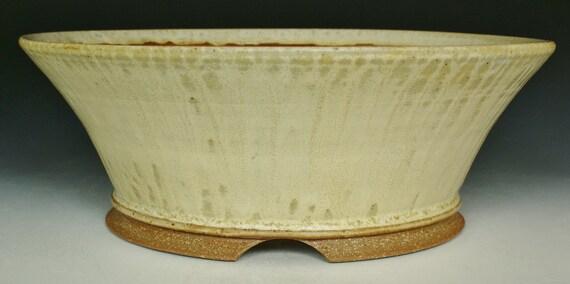 Cascade Semi Cascade Bonsai Pot With Eggshell And Ash Glaze Etsy