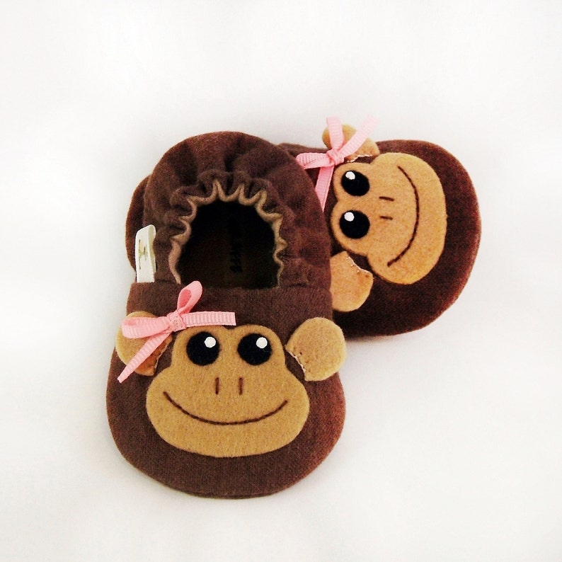 abd4d68fb6493 Monkey Girl Baby Booties - Newborn, Infant, Baby Slippers, Crib Shoes,  Footwear, 0 - 18 Months