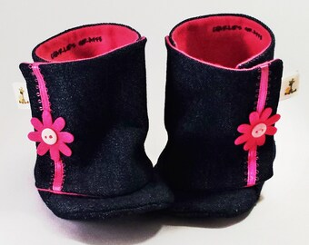 Denim Boots, Daisy Baby Boots, Baby Booties, Baby Boots - LAST PAIR LEFT