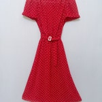 Polka Dot Dress Red and White Vintage FREE SHIPPING