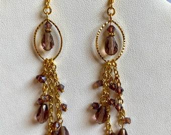 Purple Crystal & Chain Drop Earrings