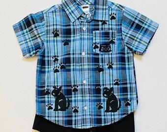 Toddler 3 Boy Blue Puppy Dog Shirt Set, Boy 3T Summer Cotton Clothing, Toddler Boy Clothes, Puppy Dog Birthday, inkybinkybonky