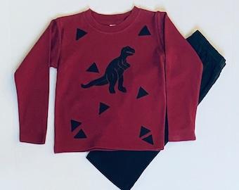 Toddler Boy Dinosaur Shirt Pants Set, T Rex Clothes, Long Sleeve Warm Fall Clothing, Dino Birthday, Winter, Christmas Xmas Gift