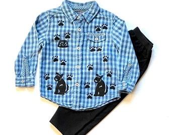 3T Blue Puppy Dog Shirt Pants Set, Toddler Boy Cotton Clothes, Clothing For Boy, Button Down Plaid Flannel Shirt, Dog Birthday, Boys Xmas