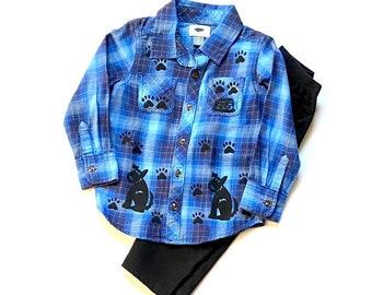 4T Blue Puppy Dog Shirt Pants Set, Toddler Boy Cotton Clothes, Clothing For Boy, Button Down Plaid Flannel Shirt, Dog Birthday, Boys Xmas