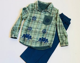 4T Green Frog Shirt Pants Set, Toddler Boy Cotton Clothes, Clothing For Boy, Button Down Flannel Shirt, Frog Birthday, Boys Xmas Gift