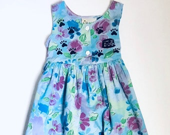 6 Floral Dog Dress,  Blue Puppy Dog Birthday Dress, Toddler Flower Sundress, Girls Sun Dress Pockets, Back To School Dress, inkybinkybonky
