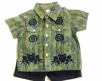 6-9month Frog Shirt Shorts Set, Boy Clothes, Infant Boy Outfit, Boy Shirt And Shorts, 6-9m Boy Clothes, Boy Clothing, inkybinkybonky