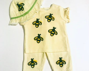6mo Baby Bee Outfit, New Baby Girl Bees, Yellow Bee Set ,Girl Shower Gift Bumble Bee Outfit Yellow Bee Outfit Baby Bee, inkybinkybonky