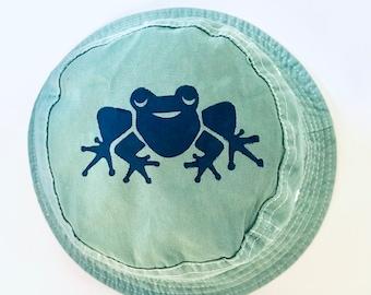Green Frog Toddler 2-4 Hat, Toddler Bucket Hat, Childs Hat, Toddler Hats, Kids Sun Hat, Unisex Hat, Kids Summer Hat, Cotton Sun Hat,Frog Hat