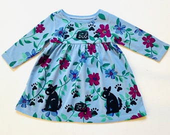 Girls Infant Toddler Floral Dress, Blue Puppy Dog Outfit, Long Sleeve, Warm, Holiday, Xmas Christmas Gift, Birthday Dress, inkybinkybonky