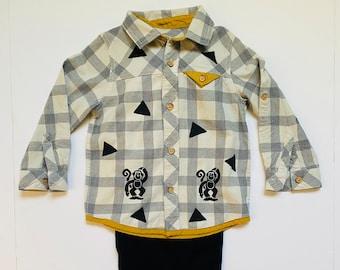 3T Boy Monkey Plaid Flannel Shirt Pants Set, Toddler Boy Cotton Clothes, Button Down Shirt, Long Sleeves, Fall Winter Christmas, Birthday