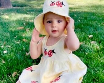 Yellow Ladybug Dress Hat Set, Infant Baby Dress, Summer Dress, Infant Sun Dress, 6mo, 12mo, 18mo, inkybinkybonky