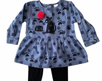 Girl Blue Polka Dot Puppy Dog Ruffle Top Legging Set, Infant Clothes, Toddler Girl Clothing, Fall Winter Outfit. Toddler Girl, Dog Birthday