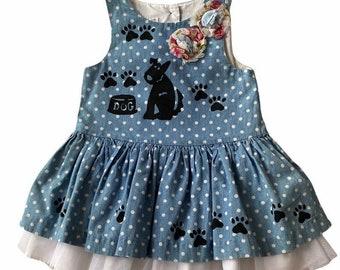 Polka Dot Blue Denim Dress, Girls Puppy Dog Birthday Dress