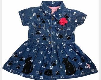 6 Month Blue Denim Dress, Girl Puppy Dog Dress, Soft Baby Dress, New Baby Girl Gift, inkybinkybonky