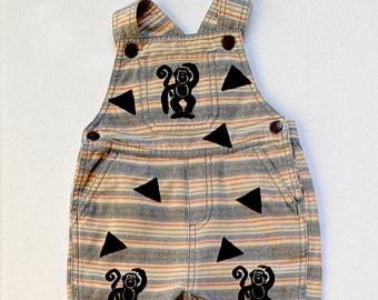 6mo Monkey Bib Overalls Boy Baby Gift Boy Shower New Baby Boy Cute Boy Clothing Overalls Boy Overalls Monkey Clothes