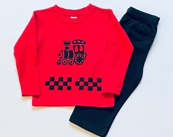 Boy Red Train Long Sleeve Tee Shirt Pants Set, Infant Boy Fall, Toddler Cotton Outfit, Winter Clothes, 12 month 18m 2T 4T 6 Christmas