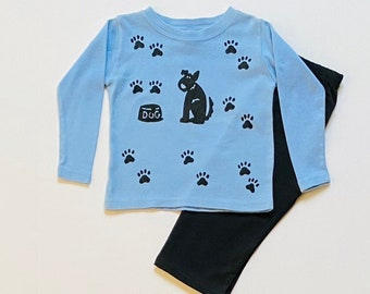 Boy Blue Puppy Dog Long Sleeve Tee Shirt Pants Set, Infant Boy Fall, Toddler Cotton Outfit, Winter Warm Christmas, Xmas, Infant