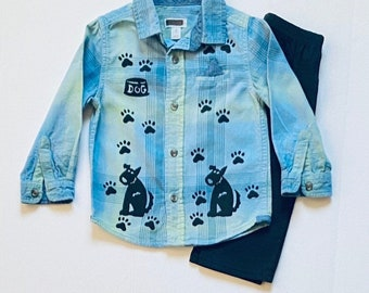 2T Blue Flannel Shirt Pants Set, Puppy Dog Boys Button Down, Cotton Boy Clothing, Soft Plaid Boy Shirt, Birthday, Boy Xmas Gift