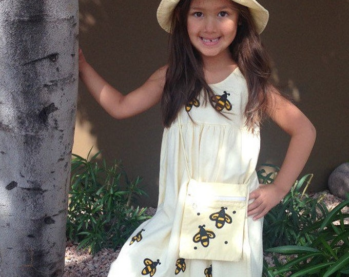 Featured listing image: Yellow Bumblebee Dress, Girls Bees Dress, Bee Yellow Toddler Sundress, Twirly, Back To School, Cotton Jumper 2T,3T,4T 5 inkybinkybonky