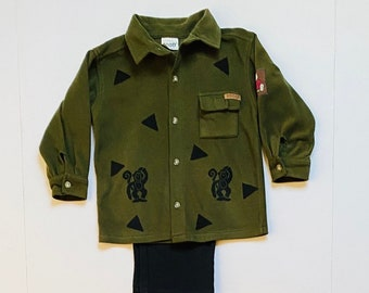 2T Boy Green Monkey Polar Fleece Shirt Pants Set, Toddler Boy Clothes, Button Down Shirt, Long Sleeves, Fall Winter Warm Christmas, Birthday