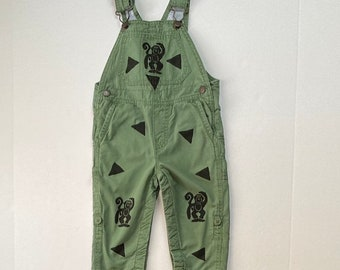 12mo Monkey Overalls, Army Green Oshkosh, Long Pants, Toddler Boy Clothes, Bib Overalls, Unisex, Infant Baby, Kids Clothing inkybinkybonky