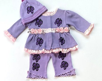 3mo Purple Butterfly With Pant and Hat Outfit, Newborn Baby Girl Set, Infant Cotton Clothes, Shower Gift, Coming Home Outfit inkybinkybonky
