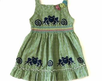 3T 4T Frog Dress, Girl Green Sun Dress, 3T Cotton Frog Birthday Jumper, Twirly, Toddler Girl Sundress, Back To School, inkybinkybonky