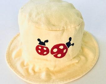 Infant/Toddler Yellow Ladybug Hat Ladybug Hat Ladybug Sun Hat Toddler Girl Ladybug Hat Girl Bucket Hat Girl Summer Hat, Girl Baby Hat
