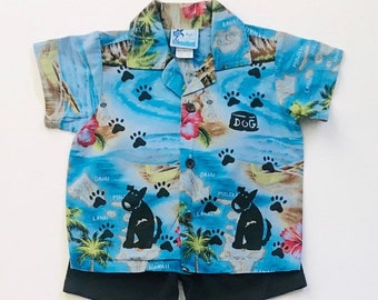 Toddler 2T Blue Hawaiian Dog Shirt Set, Boy Summer Cotton Clothing, Toddler Shorts, Puppy Dog Birthday, inkybinkybonky