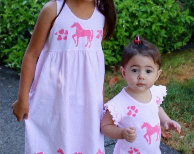 Featured listing image: Unicorn Dress, Horse, Girl Cotton Sun Dress, Toddler, Summer Dress, Back To School,Jumper Pony Dress 2T,3T,4T,5T,6,8,10,12, inkybinkybonky