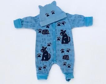 Newborn Boy Sleeper, Blue Puppy Dog Sleeper Set, Baby Boy Gift, Pajama, Romper, Cotton New Baby Boy Gift, Newborn, inkybinkybonky