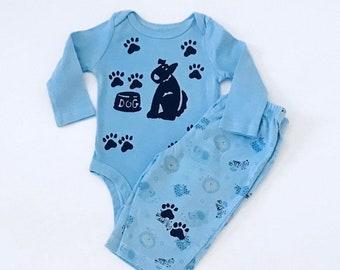 3m Blue Dog Onesie Pants Set Newborn Boy Gift Boy Shower Gift Boy Onesie New Baby Boy 3m Boy Shower Infant Boy New Boy Baby Puppy Dog