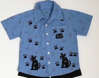 3T Boy Blue Dog Shirt Set, Summer Clothing, Toddler Cotton Outfit, Boy Shorts Set, Puppy Dog Birthday, Boy Clothes, inkybinkybonky