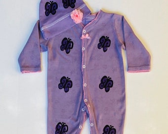6mo Purple Butterfly Sleeper Footie Set, Baby Girl Lavender Sleep Outfit, New Baby Infant Gift, Shower Newborn Girl, Pajama  inkybinkybonky