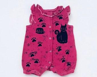 6mo Pink Kitty Sunsuit Pink Kitty Onesie Girl Ruffle Onesie Girl Baby Gift 6m Girl Baby Clothes, Infant Girl Clothing, inkybinkybonky
