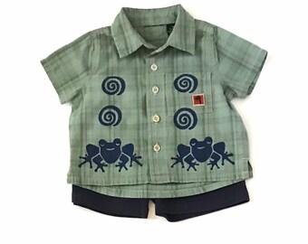 9Mo Frog Shirt Shorts Set,Infant Boy, New Baby Boy, Button Down Shirt, Cotton Clothes,Summer Green Frog, 9m Boy Clothes, inkybinkybonky