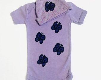6mo Butterfly Onesie Set, Purple Girl Onesie, Girl New Baby Gift, 6 Month Girl Shower, Newborn Girl, inkybinkybonky
