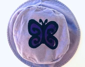 Toddler Girls Lavender Butterfly Hat, Girl Summer Hat, Girls Bucket Hat, Toddler Sun Hat, Toddler Girl Hat, Girl Toddler Sun Hat, Butterfly
