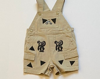 Monkey Overalls, 12Mo Khaki Boy Overalls, Monkey Boy Clothes, Infant Boy Baby Boy Bib Overalls, Infant Boy Clothing, 12m Unisex