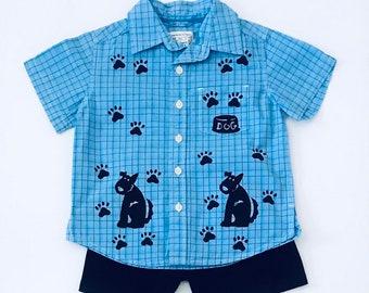 2T Dog Shirt With Shorts, Boy Shorts Set, Boy Cotton Clothing, Toddler Boy, Summer Clothes, Puppy Boy Dog Birthday, inkybinkybonky