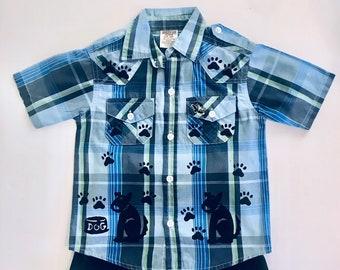 Boy Dog Shirt 18-24 Mo Shorts Set,  Toddler Boy, Summer Cotton Clothes, Blue Boy Clothing, Puppy Dog Birthday Outfit, inkybinkybonky
