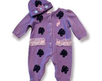 6mo Purple Butterfly Sleeper Footie Set, Baby Girl Lavender Sleep Outfit, New Baby, Infant Gift, Shower, Newborn Girl Pajama, inkybinkybonky