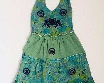4-5 Girls Frog Dress, Cotton Floral Sun Dress, Frog Birthday, 5 Summer Dress, Boho Toddler Sundress, Back To School Dress, inkybinkybonky