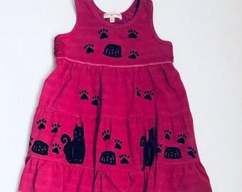 4T Pink Kitty Dress Pink Summer Dress Girls 4 Sun Dress Kitty Cat Dress Girl Jumper Toddler Girl Toddler Sun Dress Back To School Dress