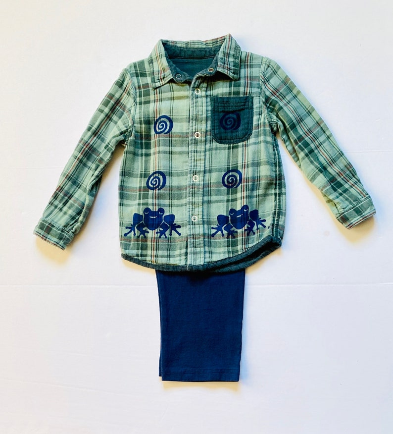 Boys Xmas Gift Toddler Boy Cotton Clothes Frog Birthday Clothing For Boy Button Down Flannel Shirt 4T Green Frog Shirt Pants Set