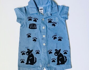 3 Mo Blue Dog Outfit, New Baby Boy Gift, Cotton Baby Boy Shower Gift, 3 Month Boy Puppy Dog Onesie,inkybinkybonky