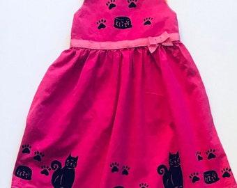 5 Pink Kitty Cat Dress, Cotton Summer Dress, Girls Toddler, Toddler Sun Dress, Sundress, Kitty Birthday Back To School, Jumper,inybinkybonky
